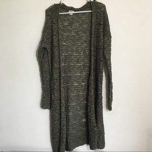 Olive Green Chunky Knit Full Length Sweater Duster